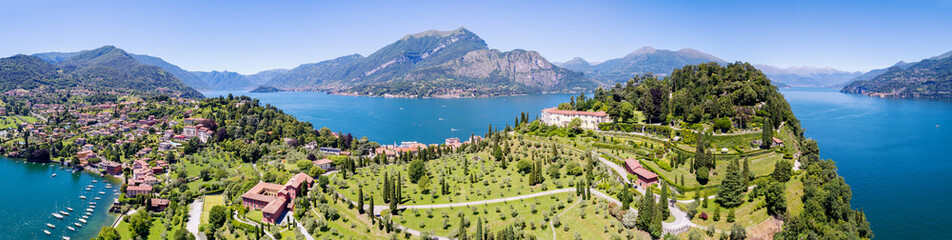 Bellagio - Pescallo - Lago di Como (IT) - Parco e Villa Serbelloni - Vista aerea verso sud