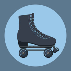 Roller skates icon. Flat design. Vector illustration.