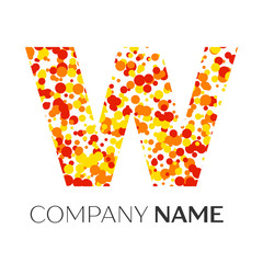Letter W logo with orange, yellow, red particles and bubbles dots on white background. Vector template for your design
