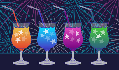 Ink hand drawn party drinks colorful collection Night scene on fireworks background