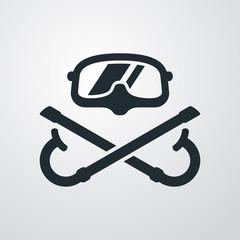 Icono plano gafas buzo y snorkels cruzados en fondo degradado