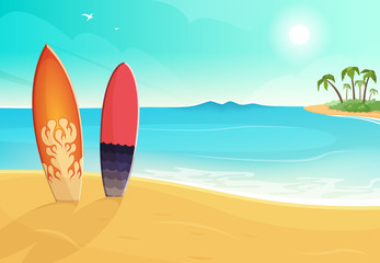 Surfboards in different colors. Sea and sand beach. Vector summer background illustration