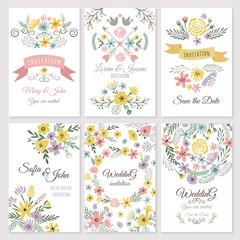 Floral design of wedding invitation cards. Vector illustrations