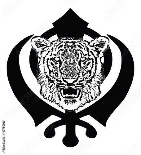 Tiger Head With Fangs And The Main Symbol Of Sikhism Sign Khanda