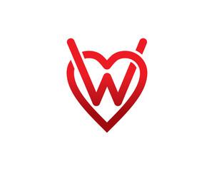 Letter W Love Logo Template Design Vector, Emblem, Design Concept, Creative Symbol, Icon