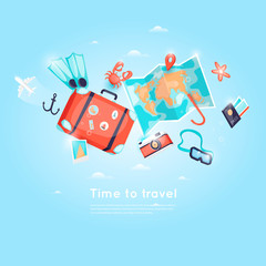 World Travel. Planning summer vacations. Holiday, journey. Tourism and vacation theme. Poster. Flat design vector illustration.