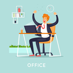 Businessman is happy in the office. Flat vector illustration in cartoon style.