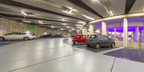Circular Underground parking garage panorama
