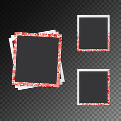 Set of photo frames in romantic style with hearts on a transparent background