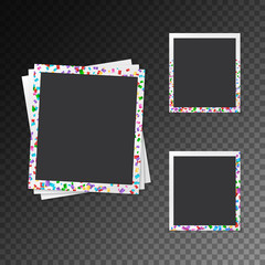 Set of photo frames with falling confetti on a translucent background