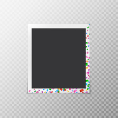 Festive photo frame with iridescent confetti isolated on transparent background