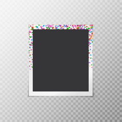Photo frame with falling confetti on a transparent background