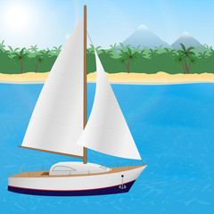 Summer travel to tropical paradise. Sailboat on a tropical island background.