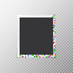 Festive photo frame with multicolored confetti in the form of flowers isolated on a transparent background