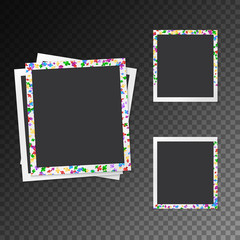 Set of festive photo frames with falling confetti on a transparent background