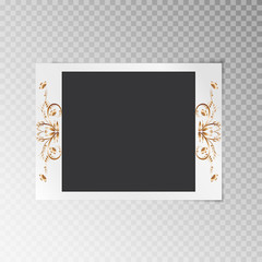 Photo frame with a gold floral pattern on a translucent background
