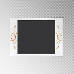 Photo frame with gold floral foil pattern on a transparent background