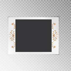 Festive photo frame with gold flowers on a transparent background