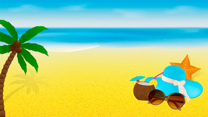 Summer banner template with beach accessories and palm tree on a blue sea background. Desktop wallpaper design.