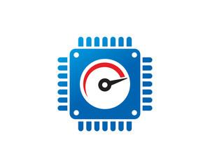 Speed Processor Logo Template Design Vector, Emblem, Design Concept, Creative Symbol, Icon
