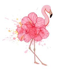 Pink floral flamingo