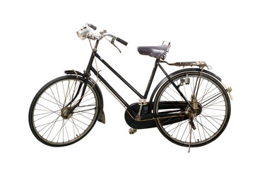 Vintage rusted bicycle isolated white background