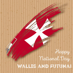 Wallis and Futuna Independence Day Patriotic Design. Expressive Brush Stroke in National Flag Colors on kraft paper background. Happy Independence Day Wallis and Futuna Vector Greeting Card.