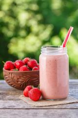 smoothie or milkshake in jar