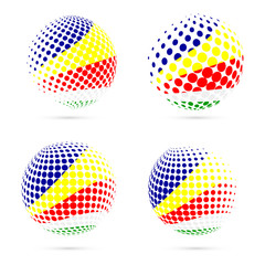 Seychelles halftone flag set patriotic vector design. 3D halftone sphere in Seychelles national flag colors isolated on white background.