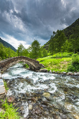 Dry stone medieval bridge in Andorra