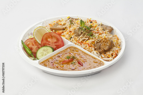 Indian meal combo with Chicken biryani and daal mash in disposable