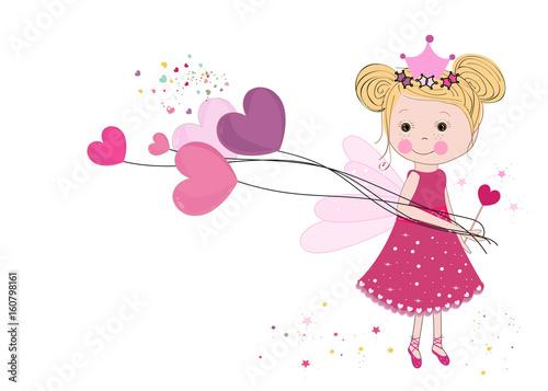 Cute fairy girl holding heart balloon. Happy valentine\'s day ...