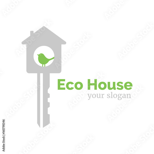 Vector logo template for eco home illustration of house in the form vector logo template for eco home illustration of house in the form of a key maxwellsz