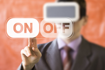 Businessman pressing button ON OFF online internet icon