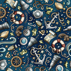 Cartoon nautical seamless pattern