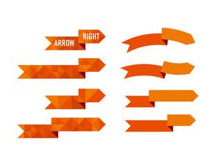 orange polygon arrow set vector illustration for web and print design