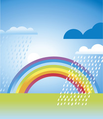 simple rainbow landscape in vivid color. vector illustration for web and print design
