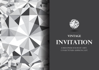 diamond invitation card luxury background vector