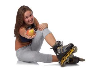 The beautiful girl in rollerskates