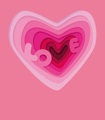 PrintLove in heart - illustration. Love wedding symbols for card, invitation. Volumetric paper letters of pink color inside a multi-layered heart, background. Volumetric 3d heart. Valentine's Day