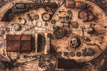 Old Pirate Treasure Collection On Ancient World Map