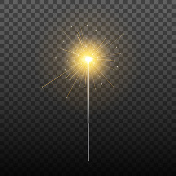 Sparkler. Realistic sparkler isolated on transparent background. Holiday decoration for Christmas, birthday etc.