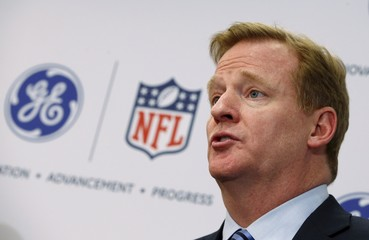 File photo of Roger Goodell, Commissioner of the NFL, speaks at a news conference announcing the Head Health Initiative, a collaboration between GE and the NFL, in New York