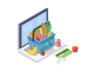Online shopping isometric concept.Shopping basket with fresh food and drink is on the laptop keyboard.Vector illustration.