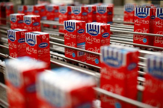 Milk cartons are seen in milk factory Milkos in Sarajevo