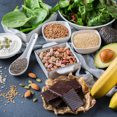 Assortment of healthy high magnesium sources food