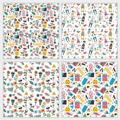 Seamless patterns with figures, flowers, leaves, animals, houses, triangles.