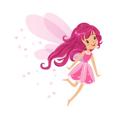 Beautiful smiling pink Fairy girl flying colorful cartoon character vector Illustration
