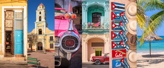 Paintings on glass Havana Cuba, panoramic photo collage, Cuban symbols, Cuba travel and tourism concept