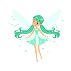 Beautiful smiling turquoise Fairy girl flying colorful cartoon character vector Illustration